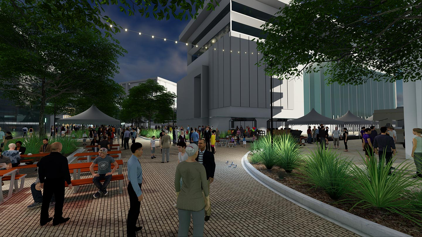 3D artist impression of people attending night markets at future The Mill development