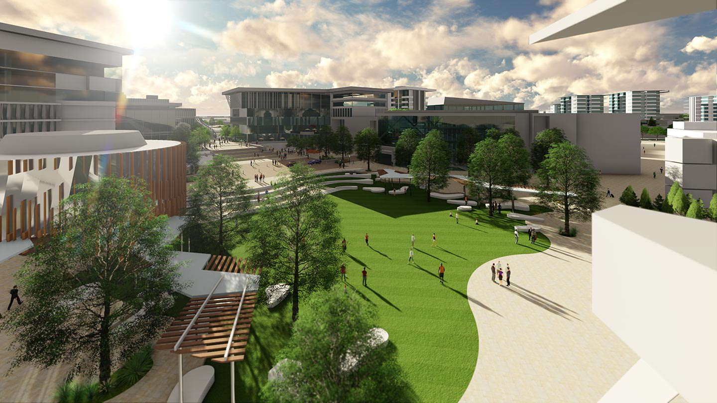 3D artist impression of USC at Petrie with pedestrian bridge over bus lane in foreground
