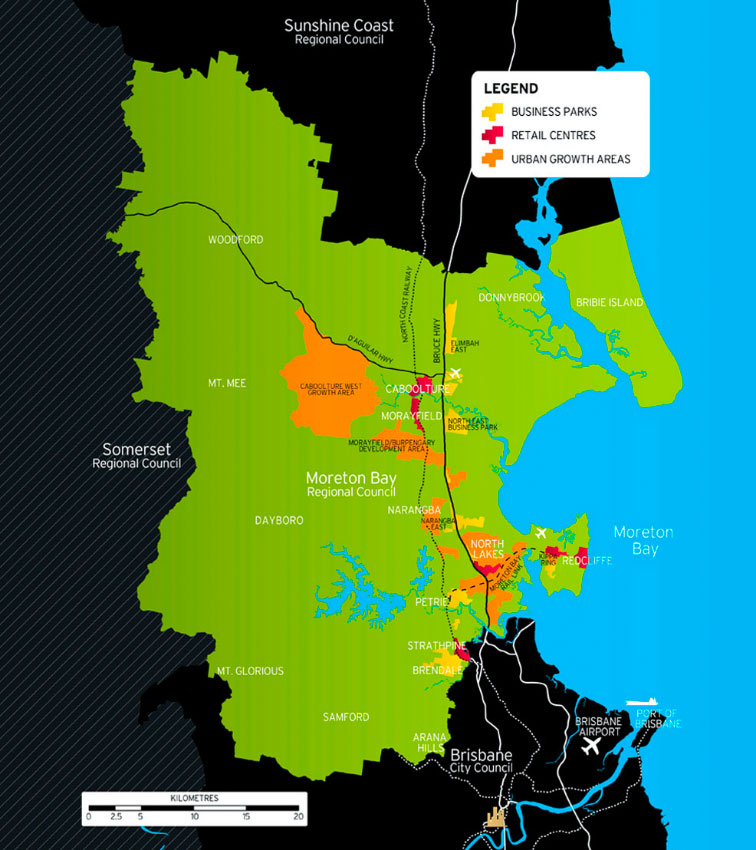 Map depicting where the corridor fits within overall Moreton Bay Regional Council boundary and proximity to Brisbane CBD, airport and port.